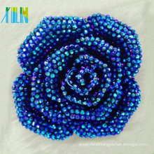 2015 popular buckles bright metallic plating blue resin flower